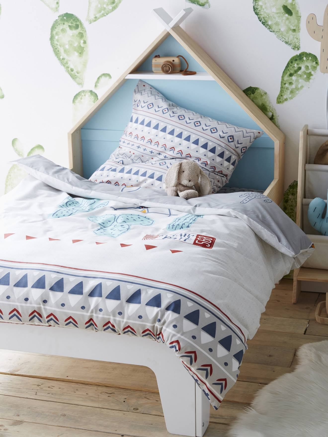 Vertbaudet Bett Und Kissenbezug Für Kinder Utah Park In Grau Bedruckt
