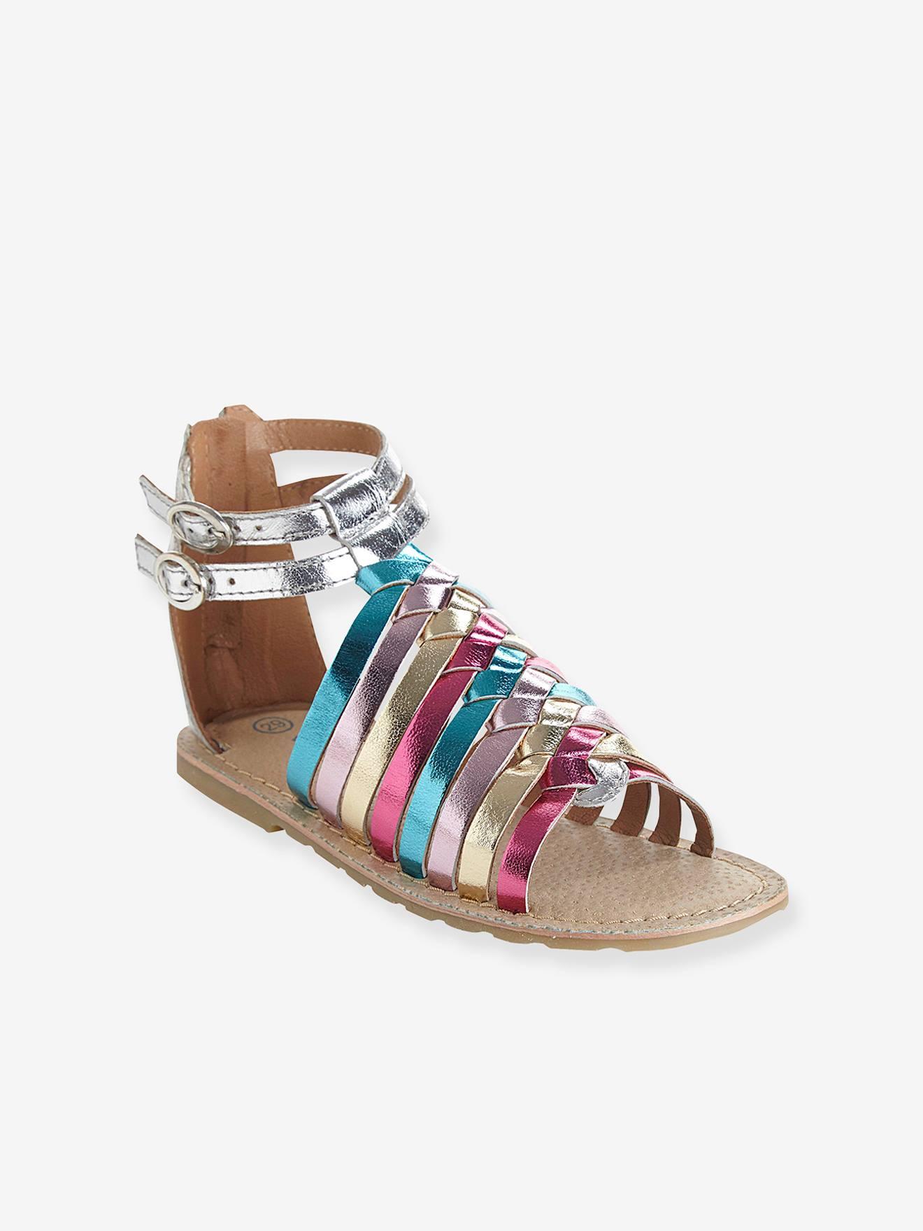 Römer-Sandalen für Mädchen, Leder goldrosa