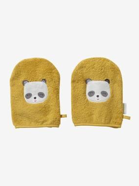 """2er-Pack Waschhandschuhe """"Panda"""" senfgelb von vertbaudet"""