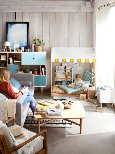 Vertbaudet Bodenmatratze für Kinderzimmer, Bodenkissen in blau/grün