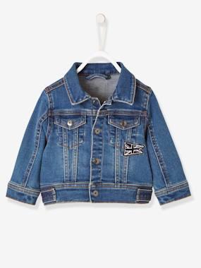 Jeansjacke für Baby Jungen, Union-Jack blau Gr. 62 von vertbaudet