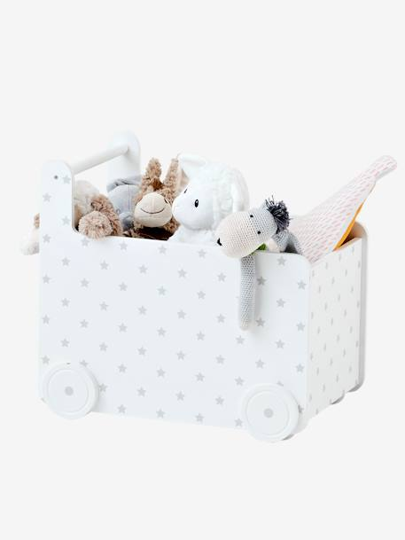 vertbaudet spielzeugkiste mit rollen kleine sterne in wei. Black Bedroom Furniture Sets. Home Design Ideas