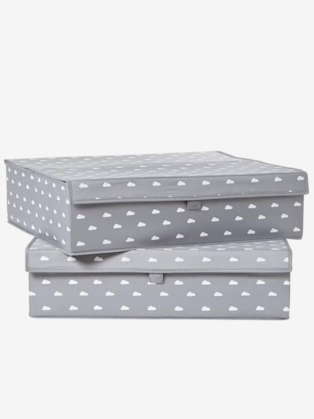vertbaudet flache aufbewahrungsbox mit deckel in grau. Black Bedroom Furniture Sets. Home Design Ideas