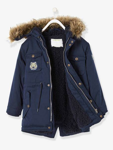 vertbaudet kapuzenparka f r jungen winterjacke mit teddyfleece in graublau. Black Bedroom Furniture Sets. Home Design Ideas