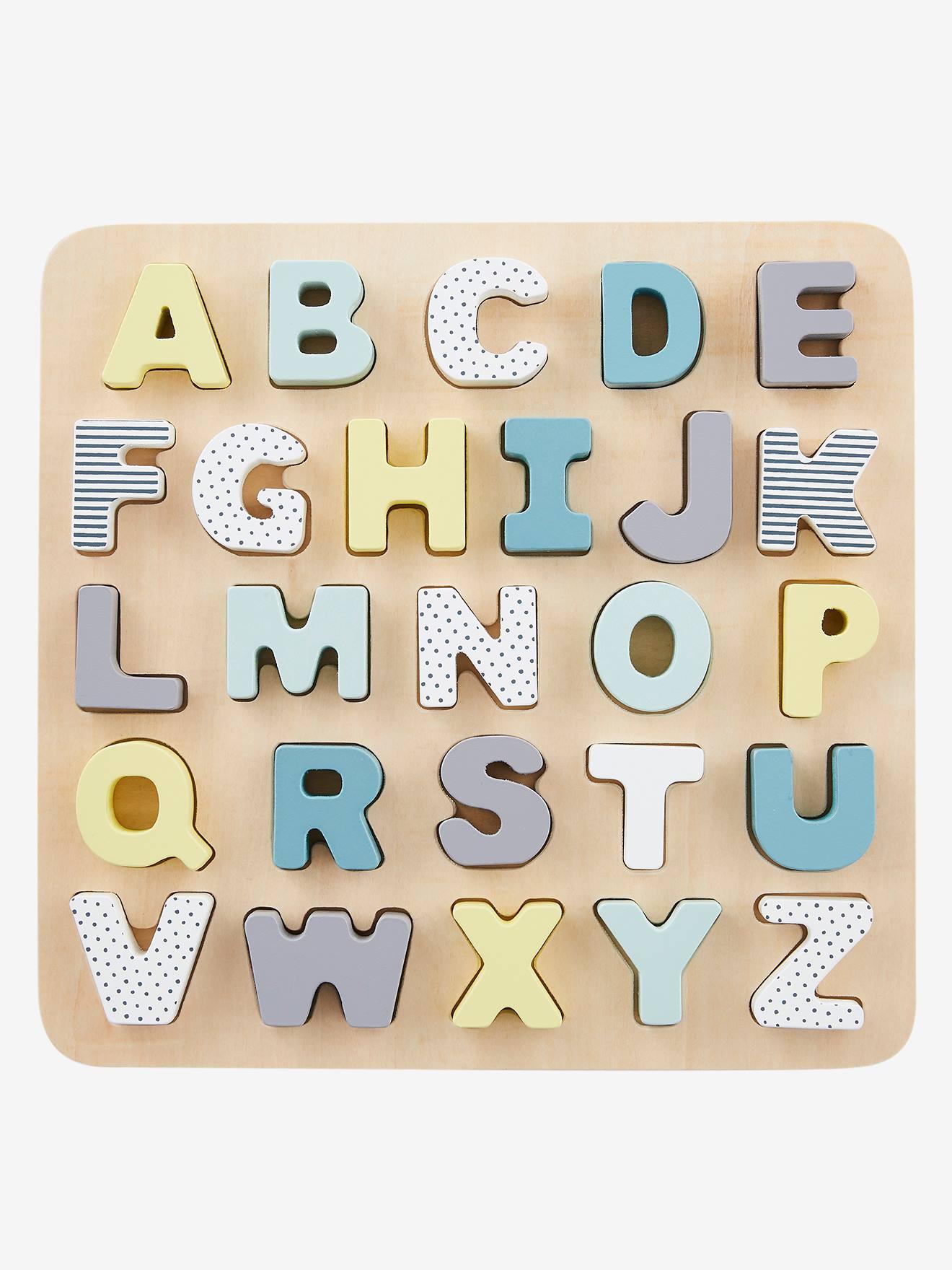 Vertbaudet Buchstaben-Puzzle aus Holz für Kinder in mehrfarbig