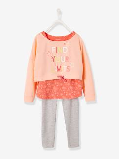 Maedchenkleidung-Pullover, Strickjacken & Sweatshirts-Sweatshirts-Mädchen Sport-Set: Sweatshirt, Top, Tights