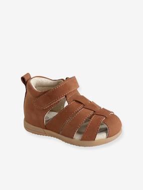 Jungen Baby Lauflern-Sandalen braun Gr. 23 von vertbaudet
