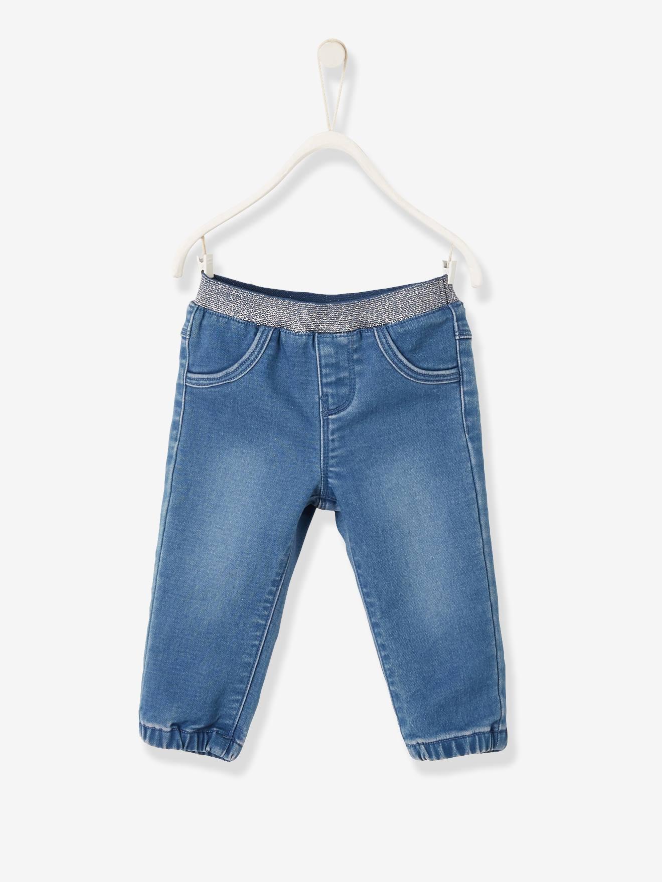 Sweathose für Baby Mädchen, Jeansoptik blau Gr. 92 von vertbaudet