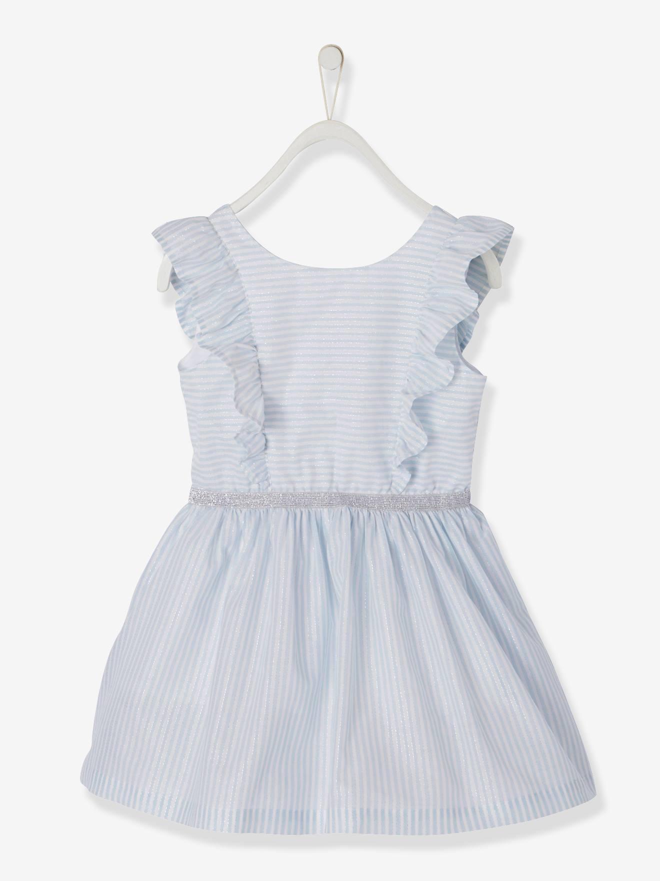 purchase cheap 8b36b 6f769 Vertbaudet Volantkleid für Mädchen, Glitzerstreifen in weiß gestreift