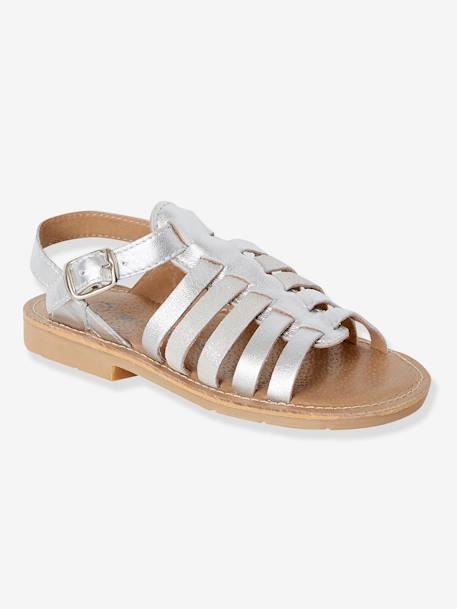hot sale online 1b666 6cb20 Vertbaudet Römer-Sandalen für Mädchen aus Leder in silber