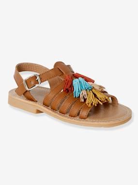 Römer-Sandalen für Mädchen aus Leder braun Gr. 27 von vertbaudet