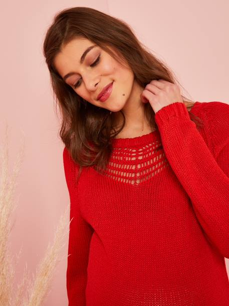 Umstands-Pullover mit Lochmuster - gelb+rot - 8