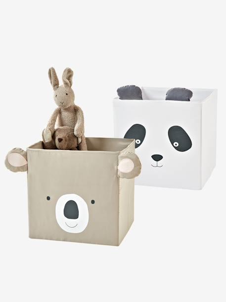 2 Stoff-Aufbewahrungsboxen, Kinderzimmer - taupe+helgrau