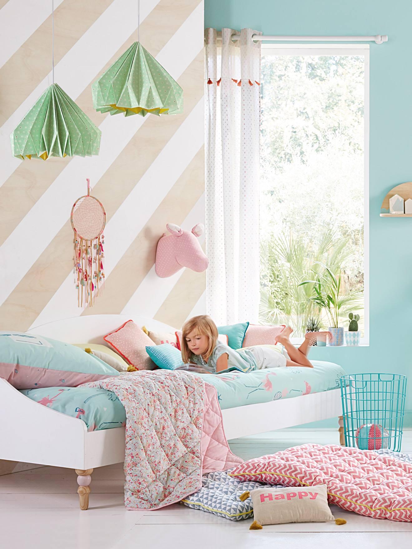 Vertbaudet Kissen für Kinder- und Babyzimmer in natur/neonrosa