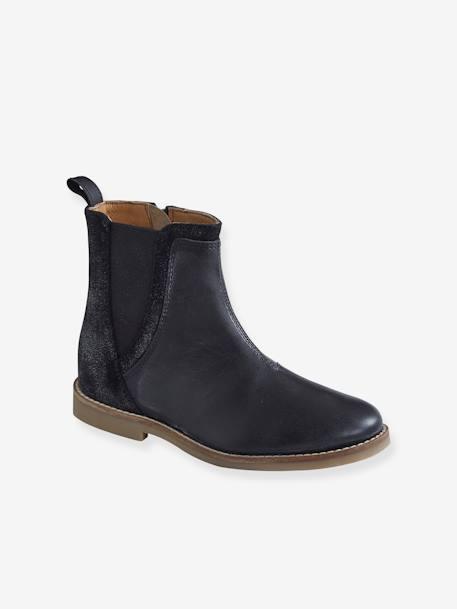 besserer Preis für 100% authentifiziert offizieller Verkauf Vertbaudet Leder-Boots für Mädchen, Materialmix in schwarz