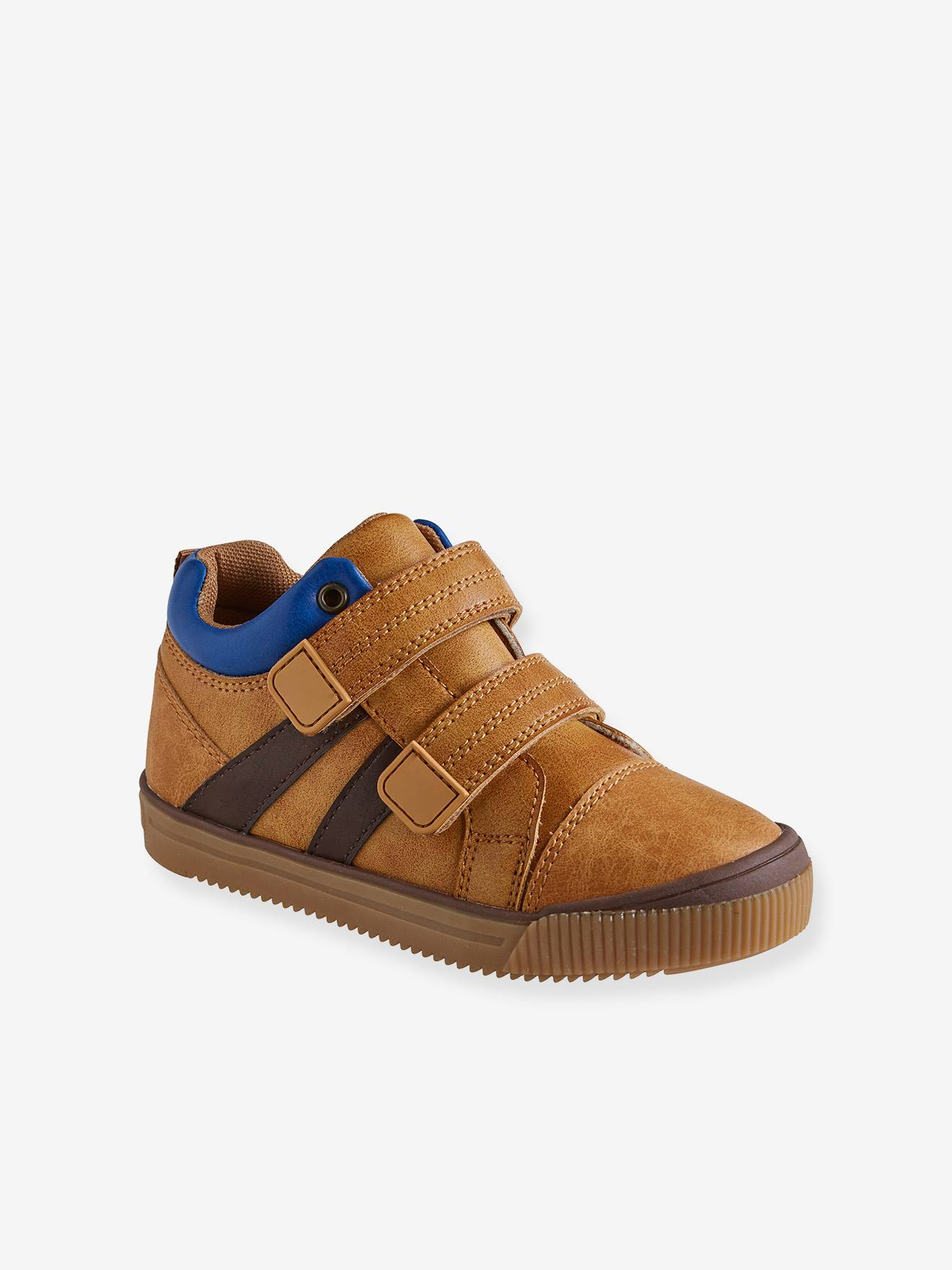 Vertbaudet High Sneakers für Jungen, Klettverschluss in camelfarben